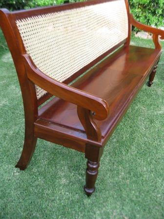 Rare Pair of Victorian Cedar Courthouse Benches (hand caned)