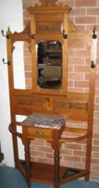 late Victorian Pine Hallstand with marble top glove drawer late Victorian Pine Hallstand with marble top glove drawer