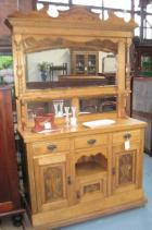 Late Victorian Pine Sideboard with Mirrored back C1900 Late Victorian Pine Sideboard with Mirrored back C1900