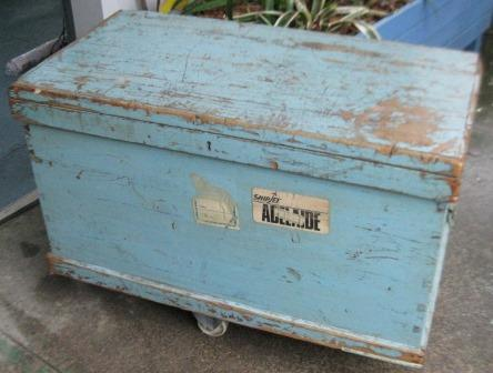 Blue Painted  Dovetailed Sea Chest C1900