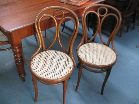 Lovely set of six newly caned bentwood chairs in original order