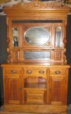 Late Victorian Ornate Pine Sideboard with Mirrored back C1900 Late Victorian Ornate Pine Sideboard with Mirrored back C1900