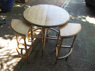 Circular Oak Nest of Tables with 4 smaller sections