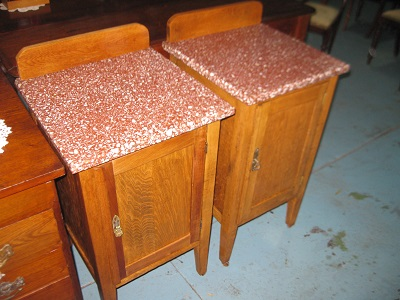 Close Pair of Terrazzo Top Federation Oak Bedsides