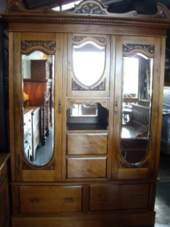 Pine Robe(SOLD) Late Victorian Pine Robe With Mirrored Doors and 4 Drawers. Circa 1890